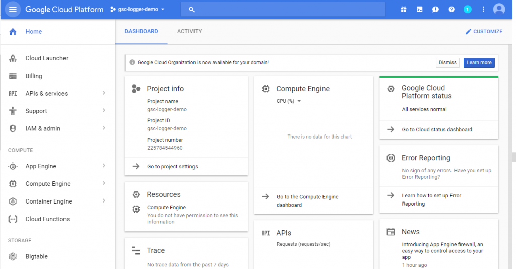 Screenshot of Google Cloud Platform - Google Search Console Logger
