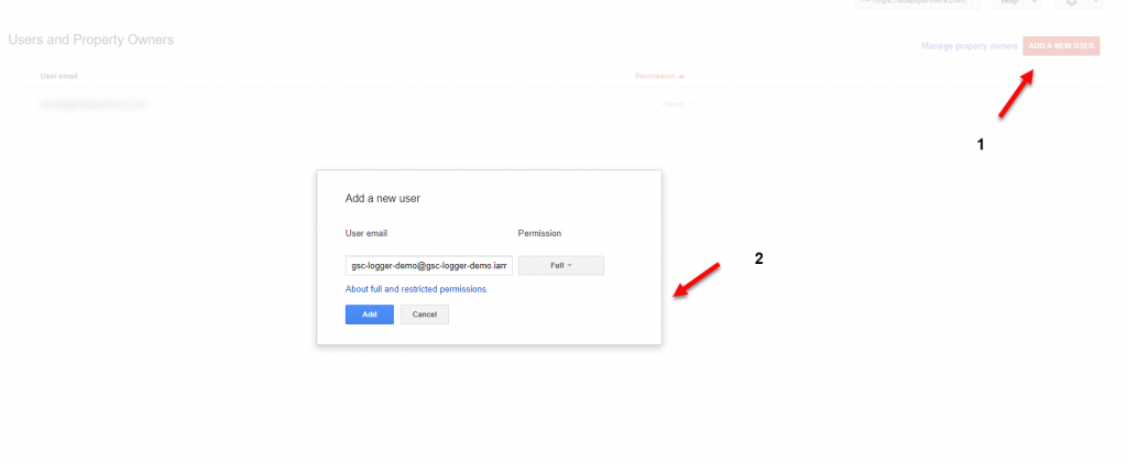 Google Search Console Add User