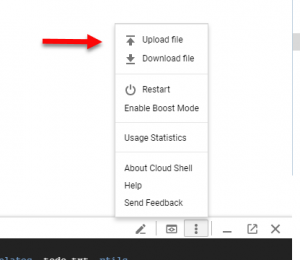 Upload file to Google Cloud Shell