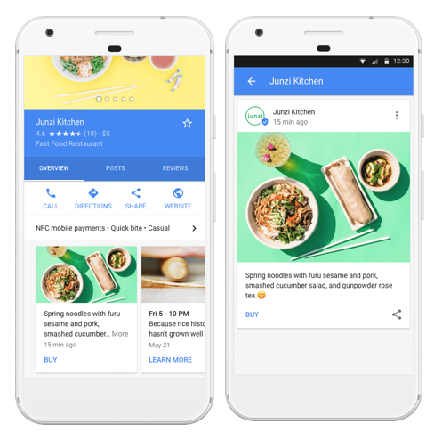 Google Post examples from Junzi Kitchen as seen in Google Search