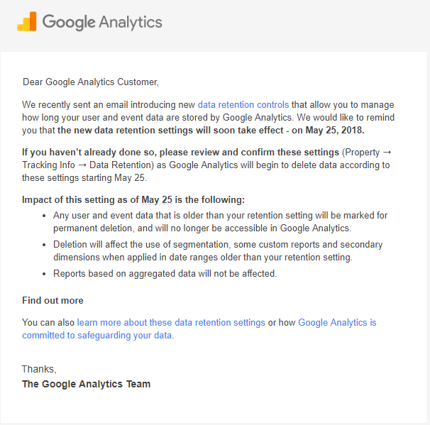 email from Google Analytics