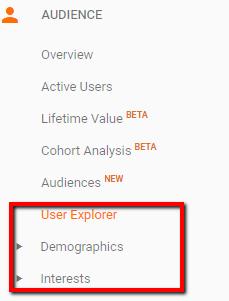 demographics menu in Google Analytics