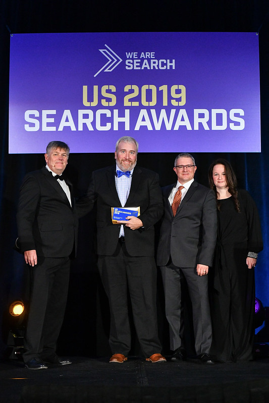 "Adapt Partners (now Locomotive Agency) presented with ""Best Small SEO Agency"" at the US 2019 Search Awards."