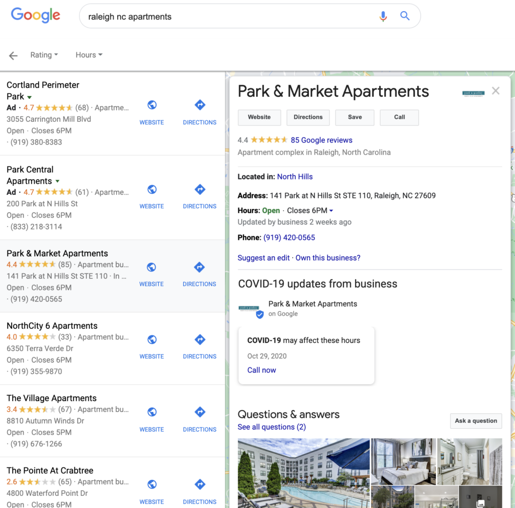 """Screenshot of the 1st page of Google search results for """"Raleigh NC apartments"""""""