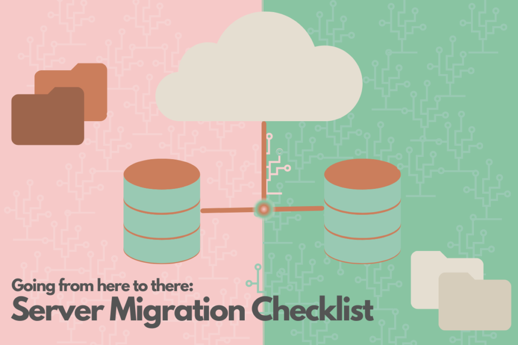server migration illustration in green, brown and pink with data servers, file folders and the cloud