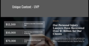 Example of a local landing page with good UVP — amount of money recovered for law firm's clients