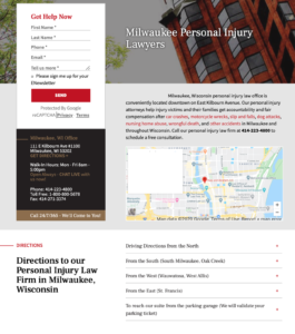 Local landing page from law firm with good contact info and a map