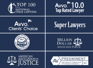 A blue box with a list of 8 different lawyer-industry specific awards