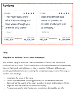 Screenshot of a couple of positive reviews from a Location Landing Page