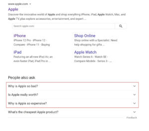 """Screenshot of a Google Search for Apple with People Also Ask highlighted in red showing negative questions, including """"Why is Apple so bad?"""", """"Is Apple really worth?"""", and """"Why is Apple so expensive?"""""""
