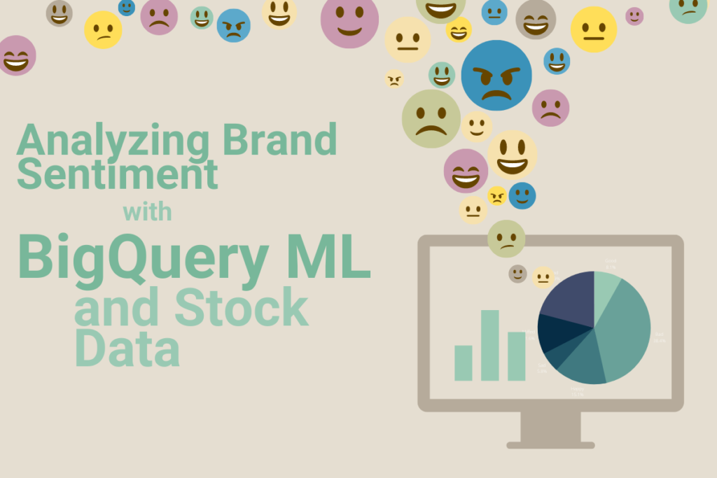 """Graphic with words """"Analyzing Brand Sentiment with BigQuery ML and Stock Data"""" plus dozens of multi-colored emoji faces expressing anger, happiness, uncertainty, sadness, joy, and more above a desktop computer with green and blue graphics and charts displayed"""