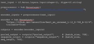 Screenshot of code used to make a simple Bert model
