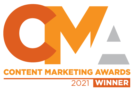 """Red, orange, and gray graphic with a seal that says, """"Content Marketing Awards 2021 Winner"""""""