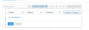 Screenshot of how to exclude brands in a SEMrush competitive content audit